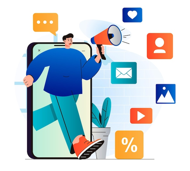 Koncepcja marketingu cyfrowego w nowoczesnej płaskiej konstrukcji człowiek z megafonem przyciąga nowych klientów