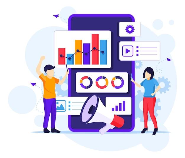 Koncepcja marketingu cyfrowego z ludźmi działa w pobliżu płaskiej ilustracji gigantycznego smartfona