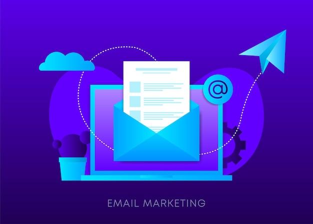 Koncepcja marketingu e-mail na ciemnym tle gradientu. laptop z kopertą, otwartą wiadomością e-mail i wiadomością na ekranie. wysyłać email. ilustracja wektorowa.