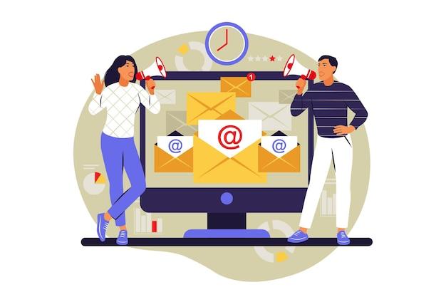 Koncepcja marketingu e-mail. subskrypcja. ilustracja wektorowa. mieszkanie.