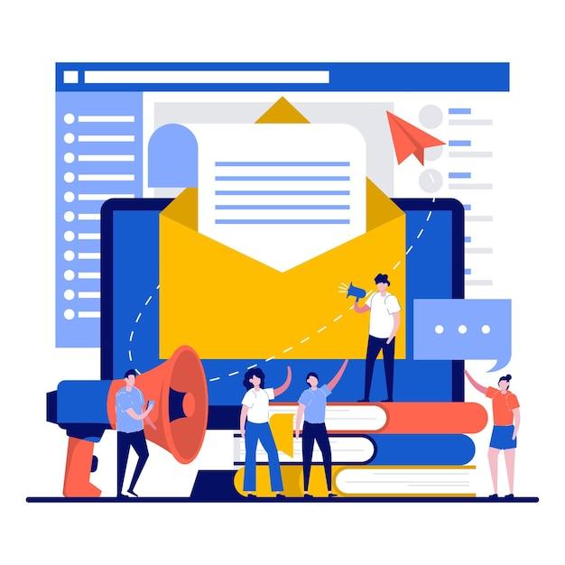 Koncepcja marketingu e-mailowego z małymi postaciami wysyłającymi wiadomość