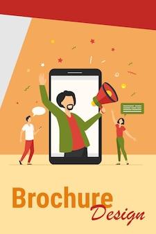 Koncepcja marketingu influencerów. męski bloger z megafonem, który dzieli się informacjami z publicznością na portalach społecznościowych. ilustracja wektorowa do marketingu cyfrowego, promocji, tematów komunikacji