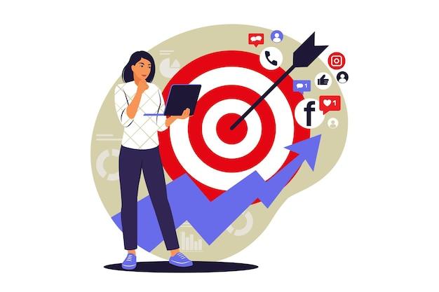 Koncepcja marketingu mediów społecznościowych. kampania reklamowa. ilustracja wektorowa. mieszkanie.