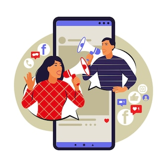 Koncepcja marketingu mobilnego. e-commerce, reklama internetowa, promocja. ilustracja wektorowa. mieszkanie.