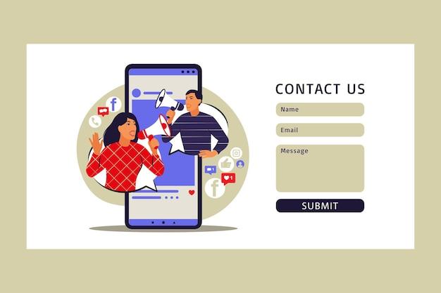 Koncepcja marketingu mobilnego. formularz kontaktowy. e-commerce, reklama internetowa, promocja. ilustracja wektorowa. mieszkanie.