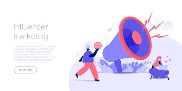 Koncepcja marketingu online influencer na płaskiej ilustracji wektorowych młody bloger reklamujący towary via