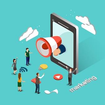 Koncepcja marketingu online w 3d izometrycznej płaskiej konstrukcji