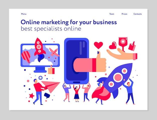 Koncepcja marketingu online z mediami społecznościowymi i banerem reklamowym internetowym na białej płaskiej ilustracji