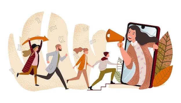 Koncepcja marketingu polecającego metoda promocji programu lojalnościowego poleć przyjaciela grupa ludzi lub klientów trzymających się za ręce i biegających do gigantycznego smartfona z głośnikiem nowoczesna płaska ilustracja wektorowa