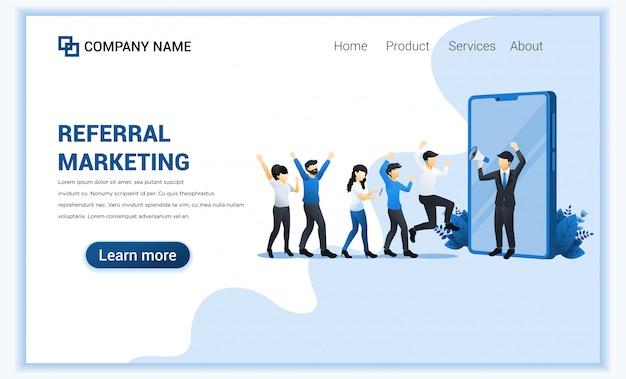 Koncepcja marketingu skierowań z biznesmenem krzyczeć na megafon do programu polecania promocji.