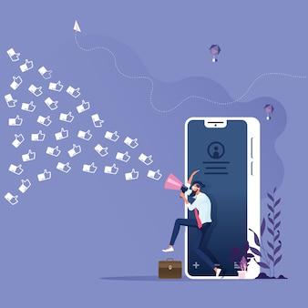 Koncepcja marketingu społecznościowego - biznesmen z megafonem wciąga klienta jak ikonę do firmy