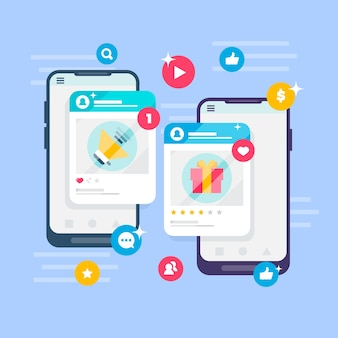 Koncepcja marketingu w mediach społecznościowych z ekranami aplikacji