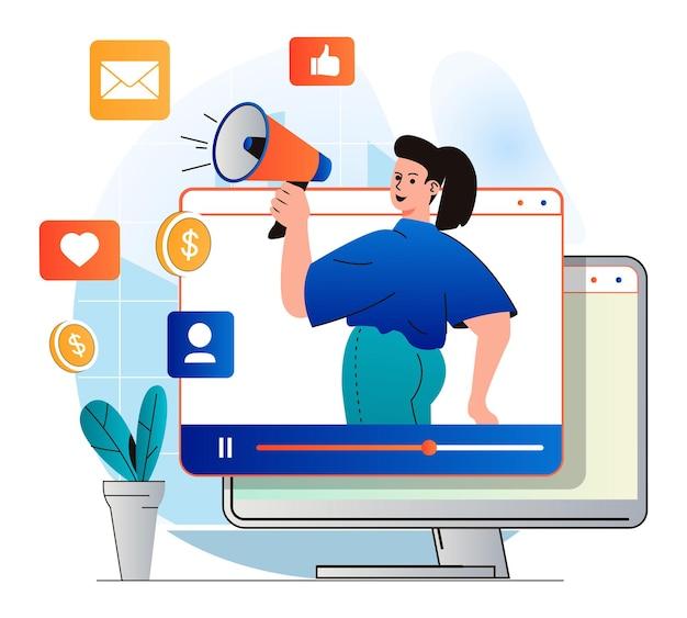 Koncepcja marketingu wideo w nowoczesnej płaskiej konstrukcji blogger z megafonem przyciąga publiczność