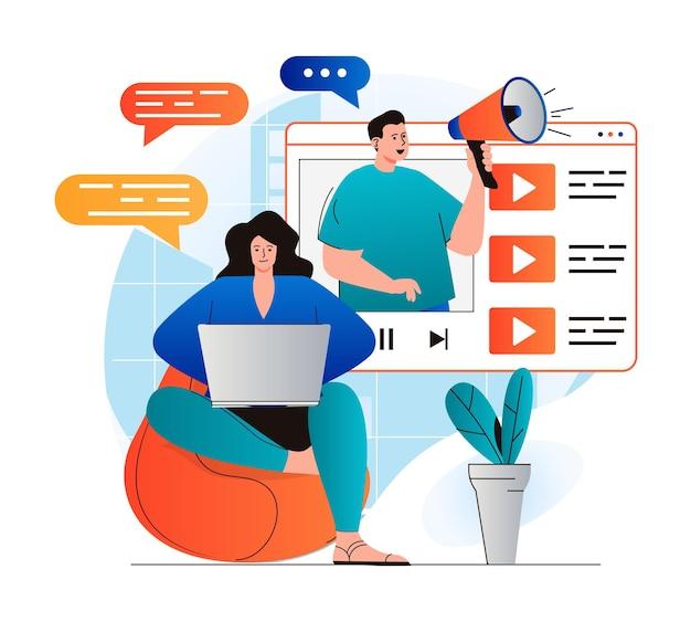 Koncepcja marketingu wideo w nowoczesnej płaskiej konstrukcji blogger z megafonem umożliwia integrację reklam