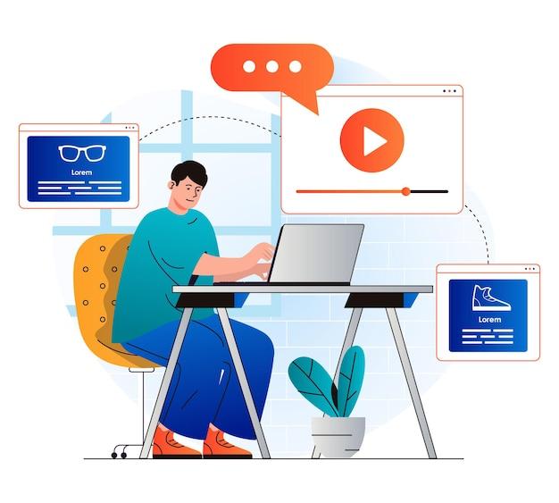 Koncepcja marketingu wideo w nowoczesnej płaskiej konstrukcji człowiek tworzy reklamowe treści wideo