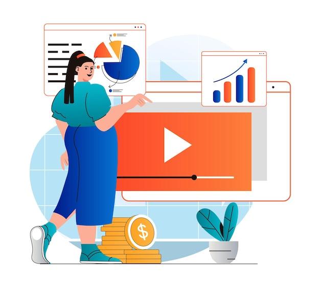 Koncepcja marketingu wideo w nowoczesnej płaskiej konstrukcji kobieta tworzy treści wideo, publikuje je