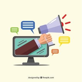 Koncepcja marketingu wpływającego z monitorem i głośnikiem