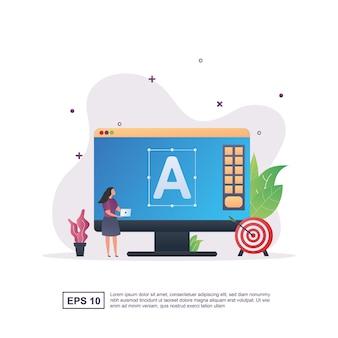 Koncepcja marki z osobą trzymającą laptopa