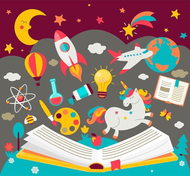 Koncepcja marzeń dzieci podczas czytania książki. dziecięca wyobraźnia urzeczywistnia bajki. otwarta księga z wieloma bajecznymi elementami. ilustracja wektorowa w stylu płaski.