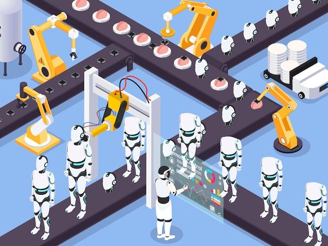Koncepcja maszyny izometrycznej steampunk z widokiem maszyn przemysłowych linii montażowej i pni robotów z manipulatorami