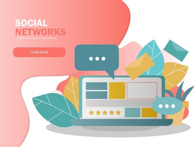 Koncepcja mediów społecznościowych do prezentacji. social network, social influencer, social marketing, udostępnianie informacji w mediach. kreatywna ilustracja wektorowa na baner, plakat, stronę internetową w nowoczesnych kolorach