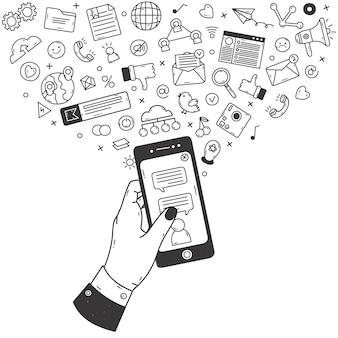 Koncepcja mediów społecznościowych. doodle smartphone z komunikacji i sieci społecznych symboli wektor zestaw ilustracji. ręcznie rysowane sieci społecznościowe