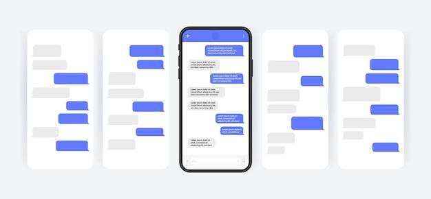 Koncepcja mediów społecznościowych. inteligentny telefon z ekranem czatu komunikatora karuzelowego. dymki szablonu sms do tworzenia dialogów. nowoczesny styl ilustracji.