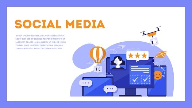 Koncepcja mediów społecznościowych. komunikacja internetowa i połączenie globalne. ludzie udostępniają treści online. ilustracja izometryczna