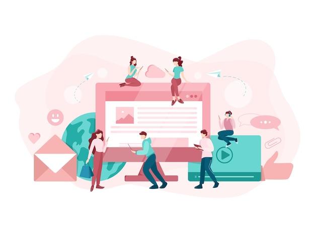 Koncepcja mediów społecznościowych. korzystanie z sieci do publikowania i udostępniania treści. komunikacja internetowa i połączenie globalne. ilustracja