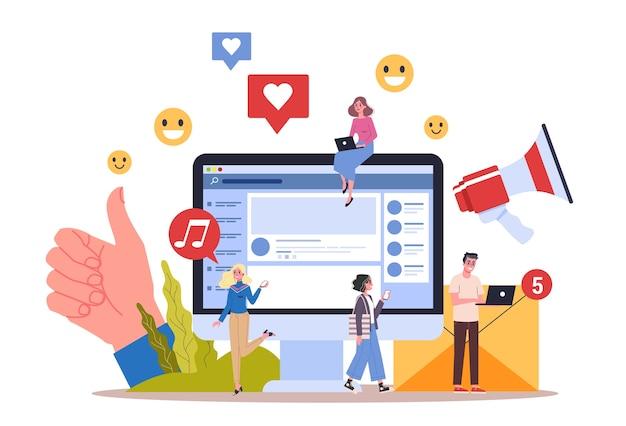 Koncepcja mediów społecznościowych. korzystanie z sieci do publikowania i udostępniania treści. promocja w internecie. ilustracja