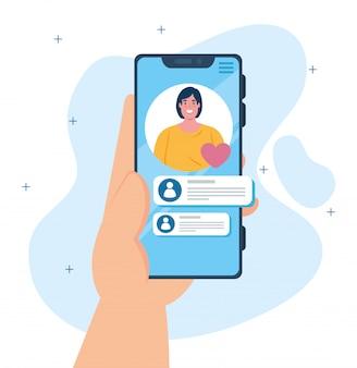 Koncepcja mediów społecznościowych, powiadomienie o wiadomościach czatu na smartfonie, kobieta na ekranie telefonu komórkowego z dymkami