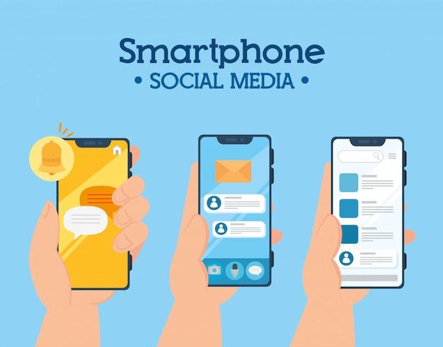 Koncepcja mediów społecznościowych, trzymając się za ręce smartfony z powiadomieniami