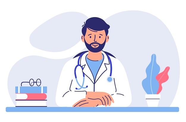 Koncepcja medycyny z lekarzem młody lekarz mężczyzna siedzi przy stole w szpitalnym gabinecie lekarskim