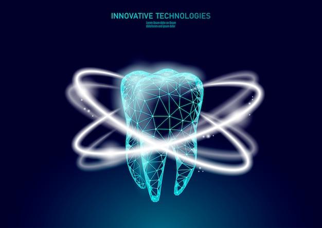 Koncepcja medyczna ochrony zębów low poly.