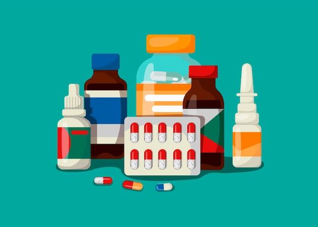 Koncepcja medyczna z lekami w stylu kreskówki
