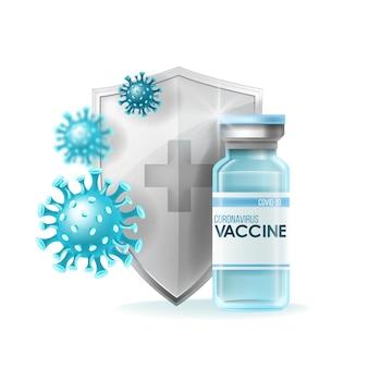 Koncepcja medycznej pandemii szczepionki koronawirusowej z butelką