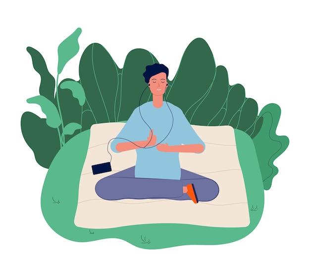 Koncepcja medytacji. mężczyzna medytuje, ćwiczenia jogi. dobre samopoczucie, energia harmonii i spokojny umysł ilustracja. lotus yoga medytacja, medytacja i koncentracja