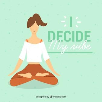 Koncepcja medytacji z sportowy kobieta
