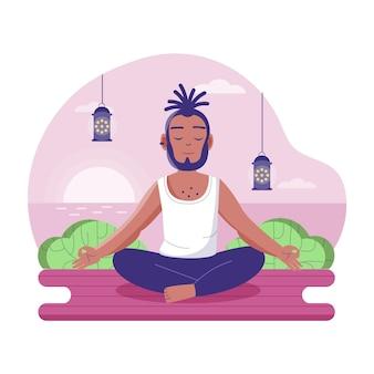 Koncepcja medytacji zrelaksowany człowiek