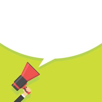 Koncepcja megafon ogłoszenia. ręka trzyma głośnik w zielonym tle. ilustracja wektorowa.