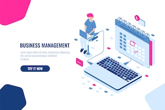 Koncepcja menedżera biznesu, harmonogram w kalendarzu, zaznacz ważną Sprawę i wydarzenie w kalendarzu