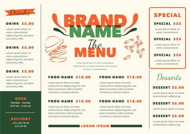 Koncepcja menu cyfrowej restauracji