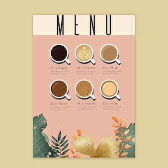 Koncepcja menu kawy