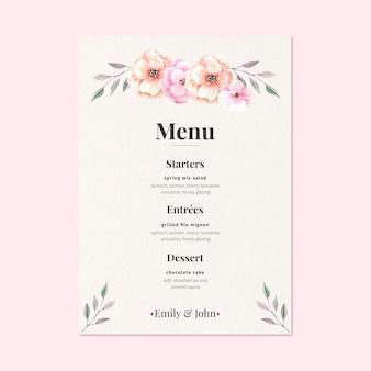 Koncepcja menu kwiatowy wesele