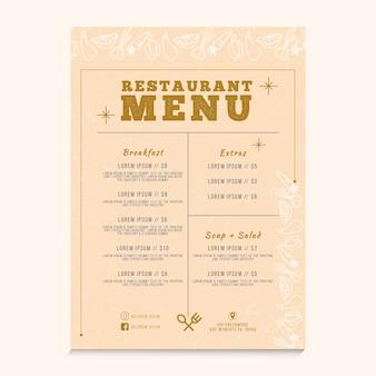 Koncepcja menu restauracji dla szablonu