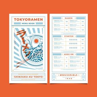 Koncepcja menu restauracji ramen