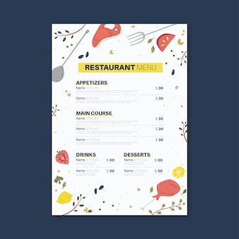 Koncepcja menu restauracji