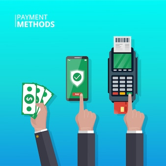Koncepcja metod płatności. ręka z różnymi metodami płatności w transakcjach. symbol smartfona, pieniędzy i dataphone.