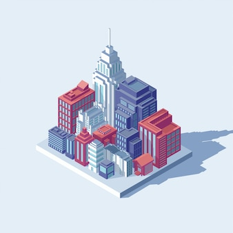 Koncepcja miasta izometryczny. inteligentne budynki w nowoczesnym mieście. ilustracja planowania urbanistycznego. infrastruktura budynków. izometryczne inteligentne miasto
