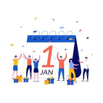 Koncepcja międzynarodowego kalendarza nowego roku z charakterem. ludzie obdarowujący się prezentami i świętujący nowy rok.